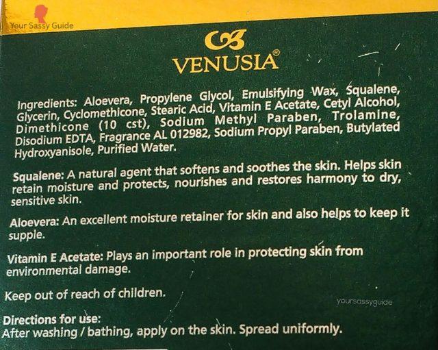 Venusia Squalene, Aloevera and Vitamin E Acetate Cream